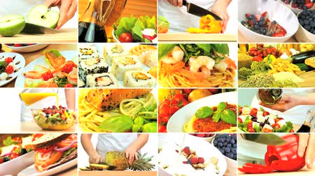 olivový olej : Montage collection of fresh tasty food choices for a modern healthy lifestyle
