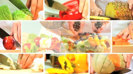 vitamin : Montage collection of fresh fruit & vegetables being prepared as part of a modern healthy lifestyle eating plan