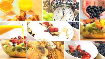 diety : Montage with clock showing time to change to a modern healthy lifestyle breakfast