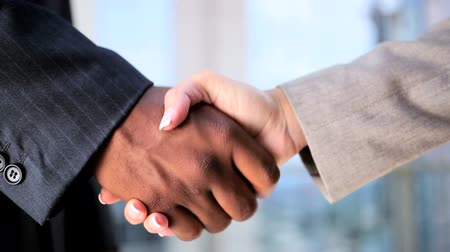 afro americana : Handshake between a male african american businessman & female caucasian businesswoman in city clothes