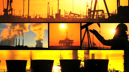 globální oteplování : Montage images of fossil fuel production in various locations at sunset