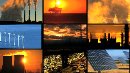 dünya çapında : Montage of clips contrasting renewable clean energy production with fossil fuel & global warming