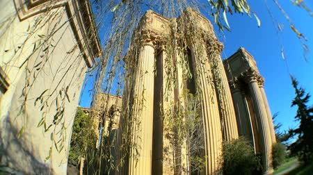 посетитель : Fish-eye view of columns & architecture of Palace of Fine Arts in San Francisco Стоковые видеозаписи