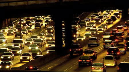 ısınma : Environmental pollution from nightly rush-hour traffic fuel emissions  Stok Video