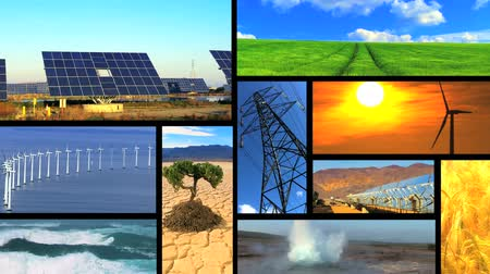 энергия ветра : Montage collection of images showing environmental damage & clean renewable & sustainable energy sources Стоковые видеозаписи