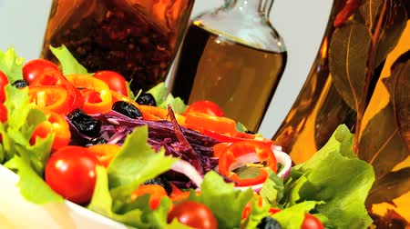 ocet : Tempting selection of fresh crisp salad vegetables & oils making a healthy nutritious meal