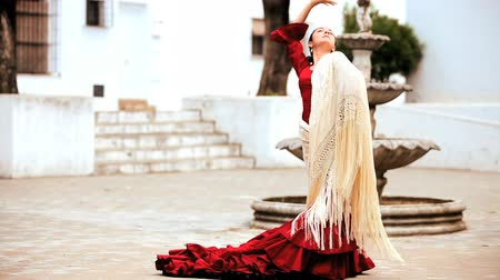 öykü : Beautiful spanish flamenco dancer with shawl in town square in Seville, Spain