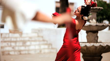 spanyolország : Two females dancing traditional flamenco in town square in Seville, Spain