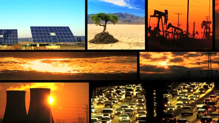 környezeti : Montage collection of images showing fossil fuel, environmental damage & clean renewable & sustainable energy sources