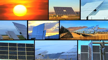 renovável : Montage of clusters of solar energy panels with early morning light & a dramatic setting sun
