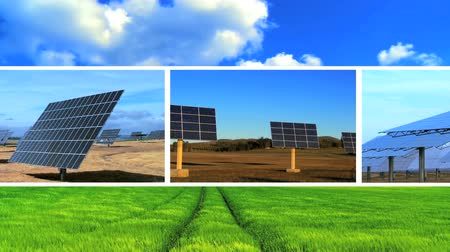 renovável : Montage of solar energy panels, moving clouds & a clean environmental agricultural field