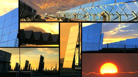 energia : Montage of clusters of solar energy panels with early morning light & a dramatic rising sun