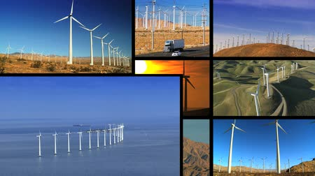 renovável : Montage collection of  wind turbines on land & at sea producing clean renewable energy