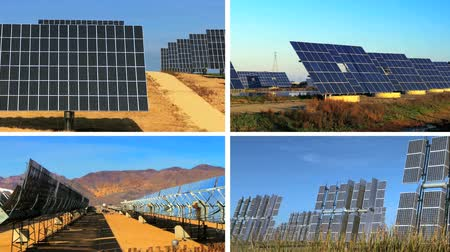 energia alternativa : Montage of clusters of solar energy panels producing clean renewable energy