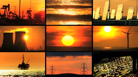 benzin : Montage collection at sunset of clean renewable energy sources contrasting with scenes of fossil fuel pollution Stok Video