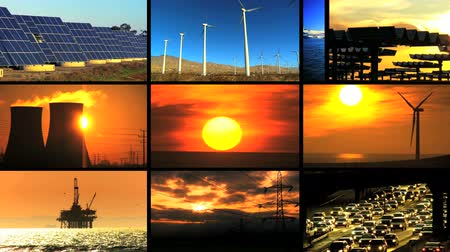 энергия ветра : Montage collection of clean renewable energy sources contrasting with scenes of fossil fuel pollution