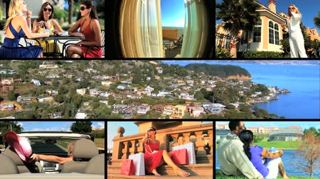 sen : Montage collection of scenes of people living the dream of a luxury lifestyle