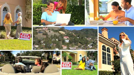 subúrbio : Montage collection of people using wireless technology while searching the real estate market