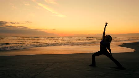 meditação : Slim athletic girl in silhouette practicing yoga on the beach at sunrise