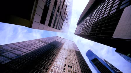 ângulo : High-angle view of skyscrapers in the financial district of USA