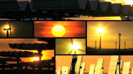 hatalom : Montage sunset collection of wind turbines & solar panels producing clean  sustainable energy