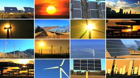 солнечный : Montage of multiple images of wind turbines & solar panels producing clean sustainable energy during the day & sunset Стоковые видеозаписи