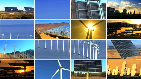 e : Montage of multiple images showing wind & solar power producing environmentally clean & sustainable energy
