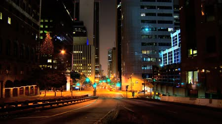 felhőkarcoló : Timelapse of night traffic in downtown LA