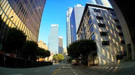 felhőkarcoló : Point-of-view with fish-eye driving in downtown LA