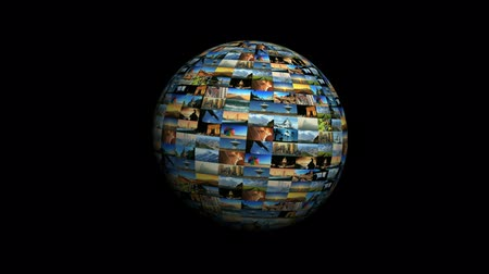 escolha : Moving travel globe of postcard views & pictures