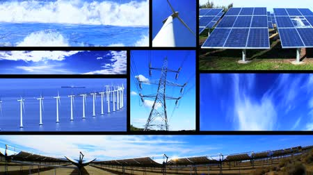 renovável : Montage of moving images of renewable energy & power sources