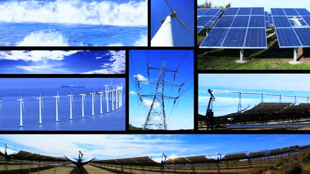 parque eólico : Montage of moving images of renewable energy & power sources