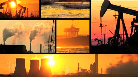fosilní : Montage of moving images of fossil fuel energy & power sources