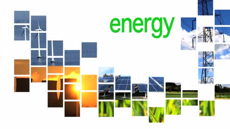 солнечный : Collage of renewable energy graphics with text