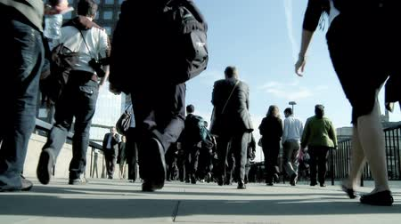 hiç kimse : City business commuters in slow motion Stok Video