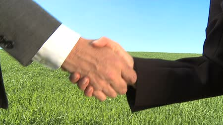 környezeti : Two business people shake hands in concept environmental workplace Stock mozgókép