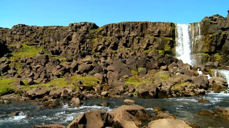 striving : Melting glacial waters on Icelandic fault line flowing from Pingvellir waterfall 60 FPS