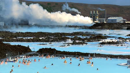 şifa : Geothermal hot springs providing therapy spa waters & distant energy plant Stok Video