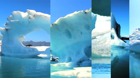 manmade : Moving graphics of melting icebergs on a seamless loop to depict climate change