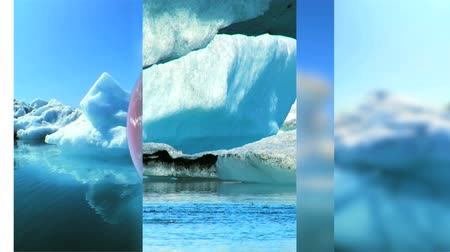climate : Moving graphics of melting icebergs & earth globe rotating on a seamless loop to depict climate change