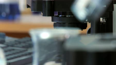 biotech : Laboratory equipment being used for scientific medical research Stock Footage