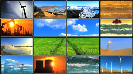 energia : Montage in LCD (Liquid Crystal Display) of energy production affecting environmental damage Vídeos