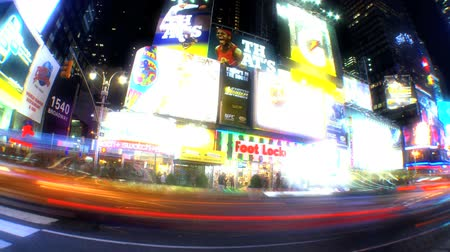 zsúfolt : Times Square, New York City, USA time-lapse at night with fish-eye