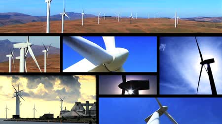 энергия ветра : Collection of wind power farm producing energy in the environment