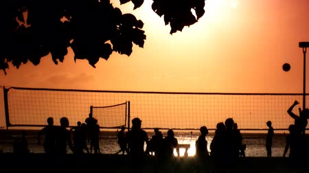 röplabda : People in silhouette playing volleyball at sunset in Hawaii,USA