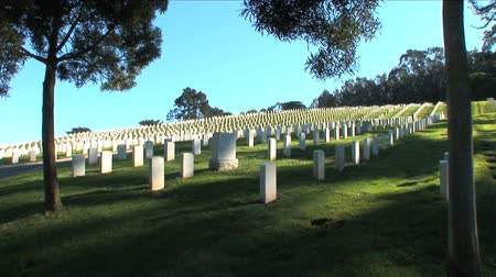 veteran's day : American memorial Cemetery in San Francisco USA with motion jib