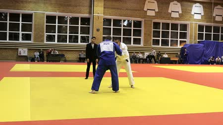 quimono : Chelyabinsk, Russia - December 20, 2015: victory athlete judoka in competition ippon during All-Russian tournament on judo