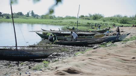 KENYA, KISUMU - MAY 20, 2017: Fishermen sitting in boats on the shore of the sea in Africa, preparing for the working day. Vídeos