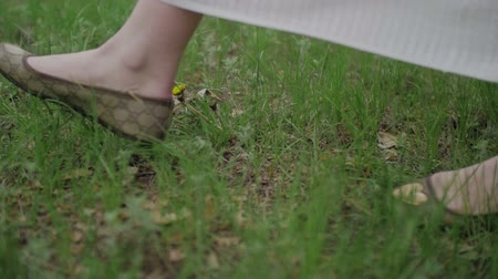 dospělý : Young Womens Feet Walking on the Grass