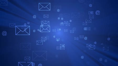 безопасность : Email symbols coming out of virtual space.